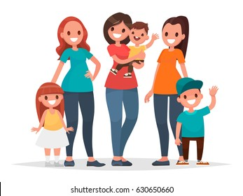 Group of mothers with their children. Mother's Day. Vector illustration in a flat style