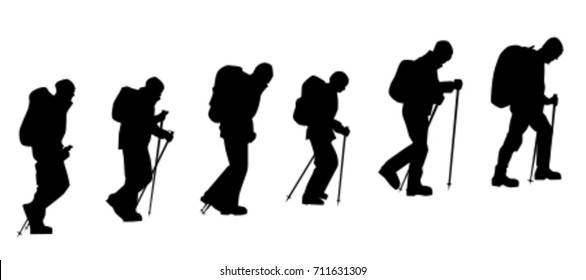 Group of mountaineers with trekking poles walking upward. Side view vector silhouettes