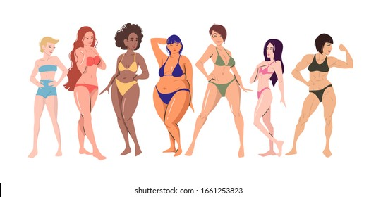 Group of multi cultural young happy women in underwear. Body positive movement and beauty diversity.