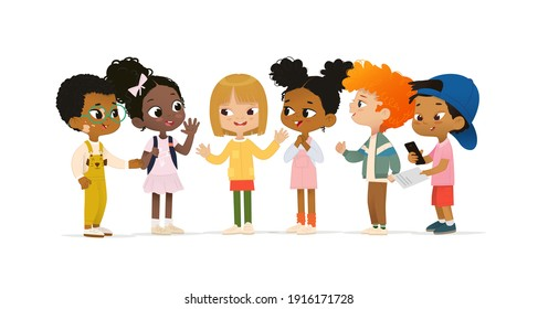 Group of multicultural children talk to each other. School boy with vitiligo say hello to new friends. Asian boy scan QR code. School friends have fun.