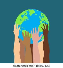 Gruppe multikultureller menschlicher Hände, die einzelne Vektorgrafik auf dem Planeten halten und pflegen