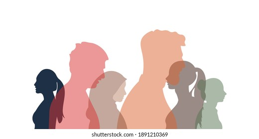 Group of multi-ethnic business co-workers and colleagues. Silhouette of diversity people side. Community of friends. Cooperation and collaboration. Teamwork partnership organization.