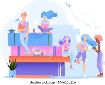 A group multiethnic students. They're  reading books, holding gadgets in their hands. Education vector illustration. Concept back to school, literacy day. Flat design for web banners