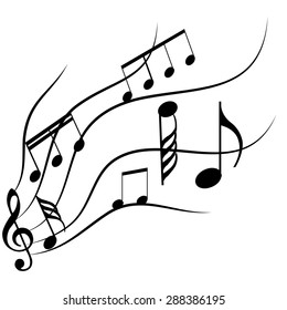 Group of musical notes on a white background. Vector illustration