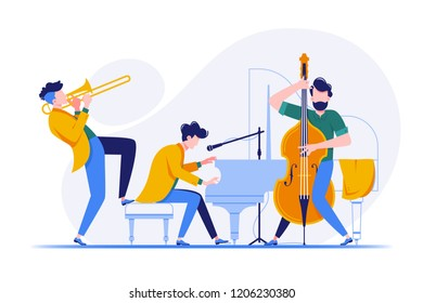 Group of musicians playing classical instruments. Concept persons, men playing the piano, trumpet and cello. Vector illustration.