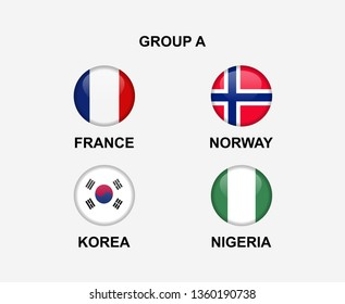 group A of nation flag in badge icon. Concept for team that qualified to final round of women soccer or sport tournament. Vector illustrative