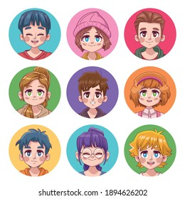 group of nine cute teenagers manga anime characters vector illustration design