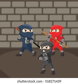 group of ninja sneaking in dungeon