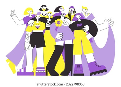 Group of non-binary people in colours of NB flag (yellow, purple). LGBTQ diversity and pride vector flat illustration concept set. Genderfluid and genderqueer person rights.