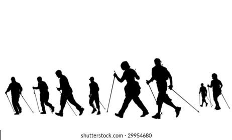 group of nordic walkers