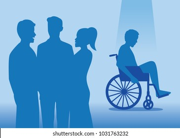 Group of normal people are talking with disabled people in the back. Illustration about disadvantaged people in society.