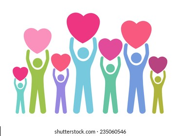 Group of, multiracial people in different age and gender holding big hearts. Concept of blood donation, giving love, help, support. Vector illustration.