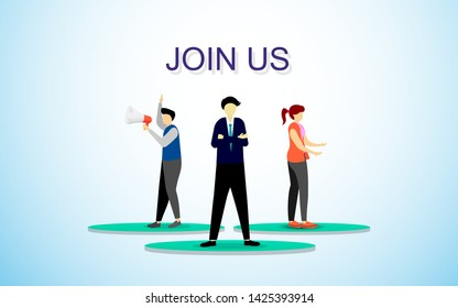 group off worker stand together with join us text call people to join company for business in flat style design vector illustration