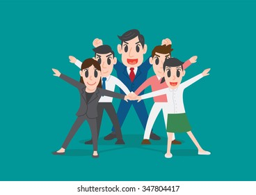 Group of office workers posing, Business people team up join hands together to collaborate or celebrate, team work concept, Conceptual illustration