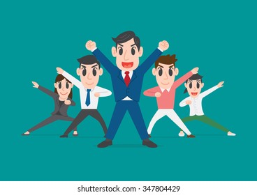Group of office workers posing, Business people team up  raised hands together to collaborate or celebrate, team work concept, Conceptual illustration