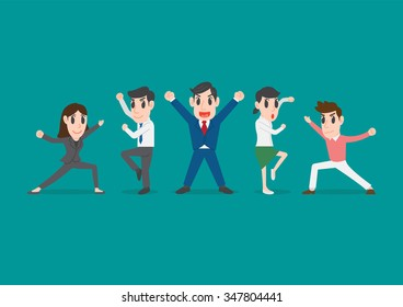 Group of office workers posing, Business people team up pose together to collaborate or celebrate, team work concept, Conceptual illustration