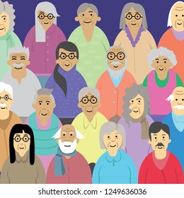 Group of old people in aging society man and woman health care pattern illustration
