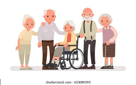 Group of old people on a white background. An elderly woman is sitting in a wheelchair. Vector illustration in a flat style