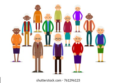 Group older people. Aged people caucasian and african. Elderly men and women. Illustration in flat style. Isolated