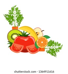 Group of Organic Fresh Vegetables and Fruits for Healthy Food concept. Corner border for your design. Vector illustration.