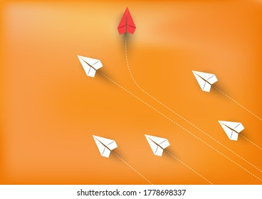 Group of paper airplanes flying.Paper plant in one direction and one red paper plant pointing in different way on background.Unique,out standing.Vector concept inspiration and think different concept.