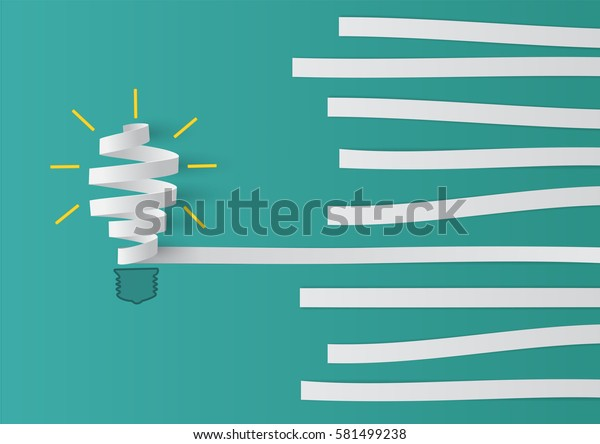 Group of paper in different  with roll paper light bulb metaphor. as a business icon for innovative solution.Minimal concept idea , flat lay , top