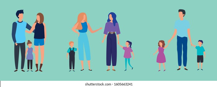 group of parents with sons characters vector illustration design