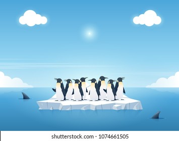 Group of the penguins on a piece of iceberg among killer whales in the ocean. Whales swim in the ocean. Summer background concept. Vector illustration.