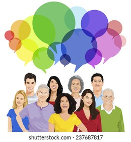 Group of Peopl with Speech Bubble