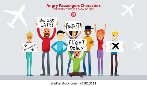 Group of People Angry with Flight Delay. Men and Women Stuck in the Airport. Young Adult Family. Millennials Characters Flat Vector Art Design Illustration
