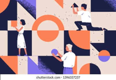 Group of people arranging abstract geometric shapes. Men and women holding figures - circle, square, triangle. Concept of organization and arrangement. Modern flat cartoon vector illustration.