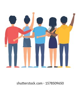 group of people back avatars characters vector illustration design