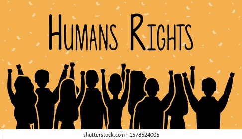 group of people back with human rights label vector illustration design