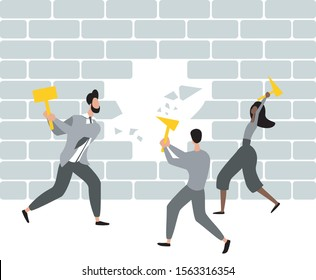 Group of people break the wall. Team destroys brick wall with hammers. Concept flat design