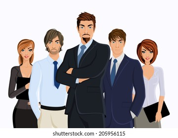 Group of people businesman with business team isolated on white vector illustration