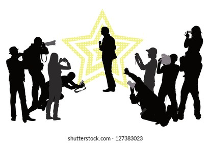 Group of people with camera and celebrity. Vector silhouettes