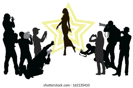 Group of people with camera and elegant woman. Vector silhouettes