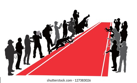 Group of people with camera near  Red Carpet. Vector silhouettes