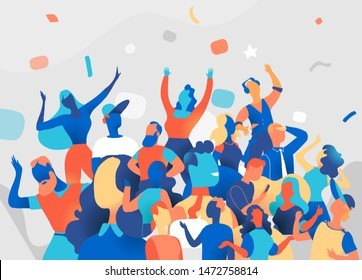 A group of people celebrate, festival, party, celebration, flat style cartoon illustration - Vector