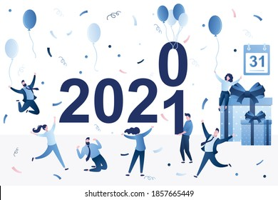 Group of people celebrating new 2021 year. Funny party. Tiny people change numbers of year. Happy characters with gift boxes, balloons and confetti. 31 December. Flat trendy vector illustration