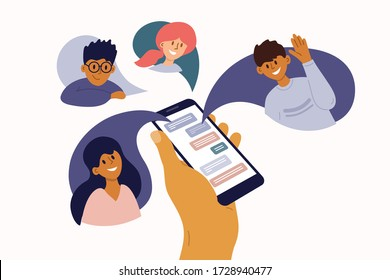 Group of people chatting online. Mobile app messenger. Cellphone screen with friends talking by internet. Using smartphone for virtual meeting with boy, girl, colleague, relatives. Vector illustration