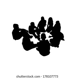 group of people in a circle . Vector