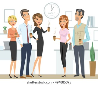 Group of people, colleagues, office workers, friends, drinking coffee  at the office. Teamwork concept.