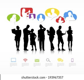 Group of People Communicating with Speech Bubble