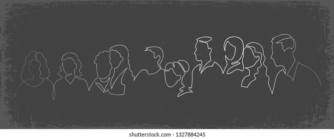 Group of people continuous one line vector drawing. Family, friends hand drawn characters silhouette clipart. Crowd standing at concert, meeting. Women and men waiting in queue. Chalk doodle