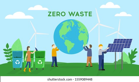 Group of people are cooperating for environmental protection and sustainability: they are supporting earth together, recycling and sorting waste, growing plants and choosing renewable resources.