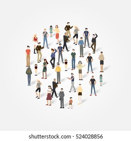 Group of people with copyspace.Vector illustration