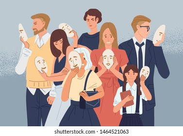 Group of people covering their faces with masks expressing positive emotions. Concept of hiding personality or individuality, psychological problem. Flat cartoon colorful vector illustration. - Shutterstock ID 1464521063