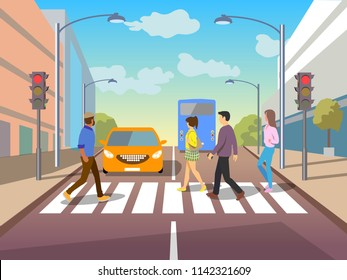 Group of people crossing road on crosswalk with traffic lights. Flat vector illustration