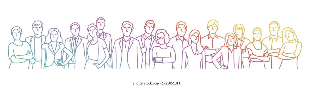 Group people. Crowd. Rainbow colors in linear vector illustration.